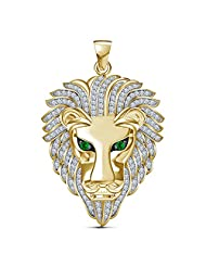 Vorra Fashion 14k Gold Plated OR White Platinum Plated White Cubic Zirconia & Green Sapphire Lion Face Pendant...