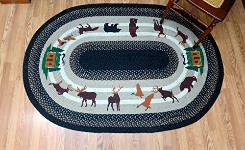 Earth Rugs OP-313 Lodge 3 Design Foot Oval Area Rug, 4 x 6', Mocha/Frappuccino by Earth Rugs