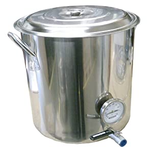 HomeBrewStuff 32 QT Stainless Steel Kettle with Valve & Thermometer