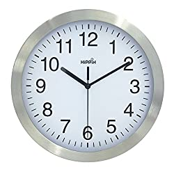 Hippih 10 Inch Silent Non-ticking Wall Clock- Metal Frame Glass Cover,B