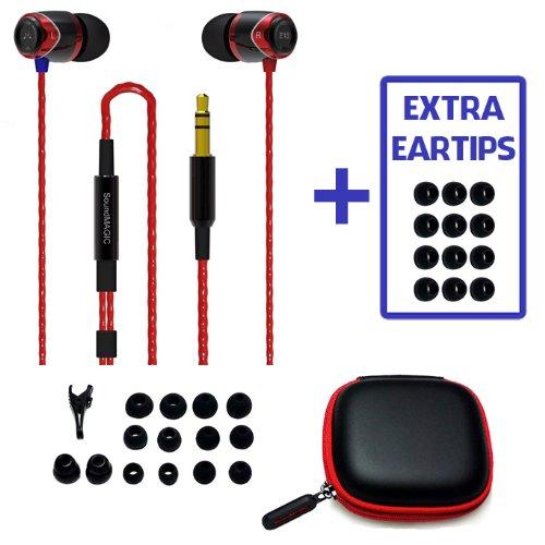 Bonus Value Pack! Soundmagic E10 Red, Noise Isolating In-Ear Earphones + Extra Eartips