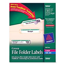 Avery® Green File Folder Labels for Laser and Inkjet Printers with  TrueBlock(TM) Technology, 2/3 inches x 3-7/16 inches, Box of 1500 (5866)