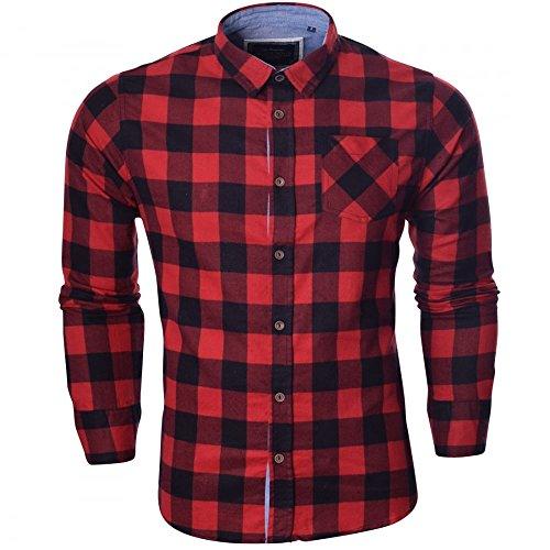 Brave Soul da uomo a manica lunga a quadri Lumberjack Cotone Spazzolato, colore: rosso, blu e bianco Red Check Black - Brave Soul Checked Indie Worker Medium