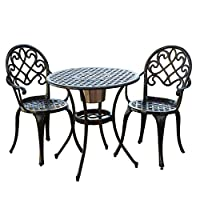 Cast Aluminum Brown Bistro Set with Ice Bucket