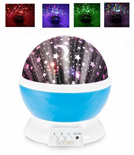 MOCREO®Rotating 3 Modes Night Lighting Lamp Romantic Projector, Rotation Night Projection Lamp Kids Bedroom Bed Lamp for Christmas Children