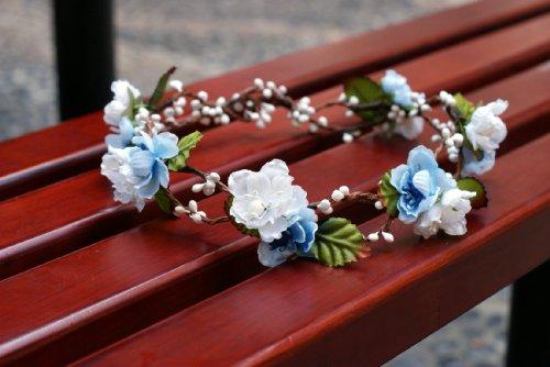 Bridal Flower Crown Floral Crown Wedding Wreath Boho Garland (white/blue)