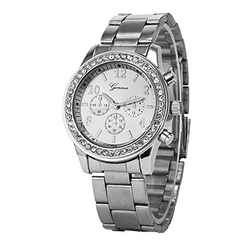 Dayan Women'S Watch Dress Watch Silver Round Dial With Crystals Geneva Chronograph Look