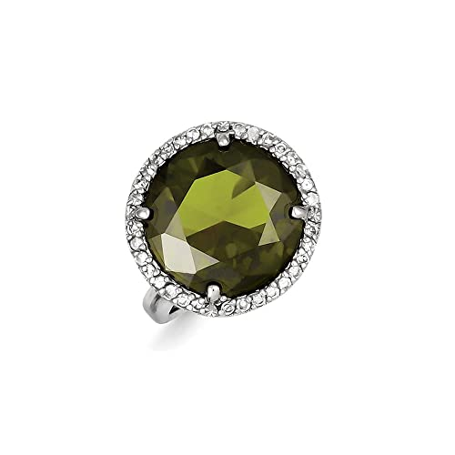 Sterling Silver Clear & Green CZ Ring