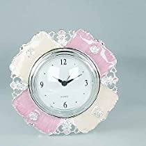 ROMANCE DRESSER CLOCK - PINK/ IVORY AND SILVER PLATED ROMANCE COLLECTION DRES...