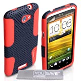 HTC One X Case Dual Combo Mesh Silicone Cover Black / Red With Screen Protectorby Yousave Accessories