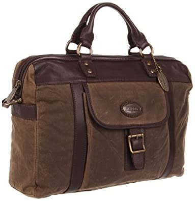 Fossil Estate Wax Canvas Top Zip MBG8272 Briefcase,Olive,One Size