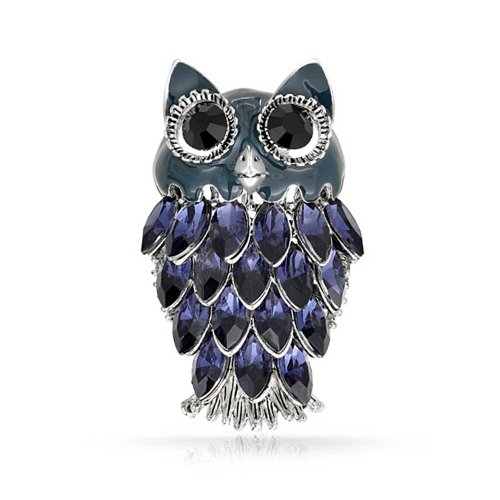 Bling Jewelry Simulated Tanzanite Crystal Marquise Owl Brooch Pin Rhodium Plated image