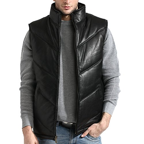 tanners-avenue-mens-lambskin-leather-bubble-vest-chevron-size-xl-black