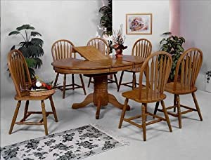 7PC Oval Dining Table With Butterfly Leaf And Chairs Set Table