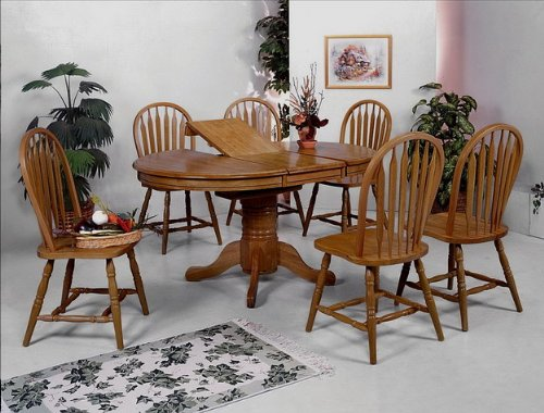 Brand New 7-Pc Farm House Pedestal Base Dining Table (With 15'' Leaf) And 6 Dining Side Chair Set-Dark Oak Finish front-1074418