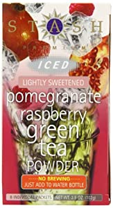 Stash Tea Pomegranate Raspberry Green Iced Tea Powder,  8 Count Packets (Pack of 6)