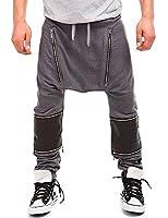 24brands BS7 - Herren lange Freizeit Hosen Sporthosen Jogginghosen Fitnesshosen Streetdance Trainingshosen Tanzhosen Sportbekleidung günstig mit Leder-look Patches 2873