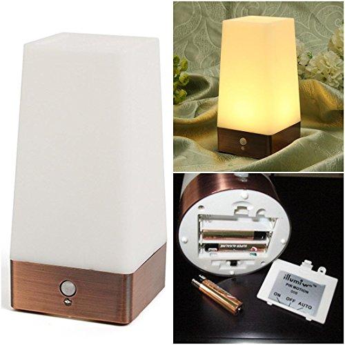1Pc Terrific Popular Square Shape LED Nightlight Auto Detector Portable Gift Decoration Warm White Light