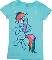 My Little Glitter on Mane Rainbow Dash Youth Light Blue T-Shirt (Youth Small)
