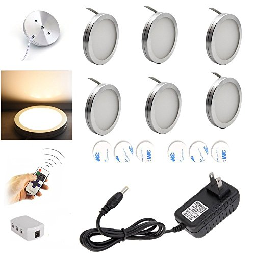 Aiboo Dimmable LED Under Cabinet Kitchen Counter Lighting Fixture Wireless RF Control 6 Ultra Slim Puck Lights Kit, Total of 12W (Warm White) (Dimmable Led Puck Lights compare prices)