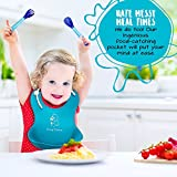 Adorable Waterproof Silicone Soft Bib with Food Catcher - Easy Clean Baby bibs for Boys or girls Red/Blue 2 Pack - FREE Infant Soft-Bite Tip Baby Spoons BPA Free and Fork Set- Premium Baby Shower Gift!