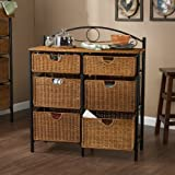 Iron Wicker 6 Drawers Storage Unit