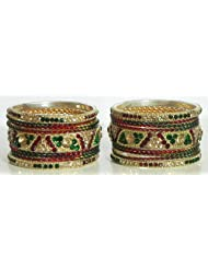 Red, Green And Yellow Stone Studded Metal Bangles - Stone And Metal