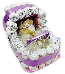 Tarta de Pañales Carrito Bebés de Cosmética Natural Infantil por Essencials en BebeHogar.com