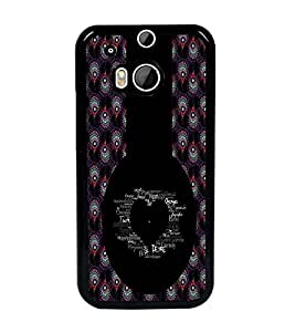 PrintDhaba Typographic Heart D-2956 Back Case Cover for HTC ONE M8s (Multi-Coloured)
