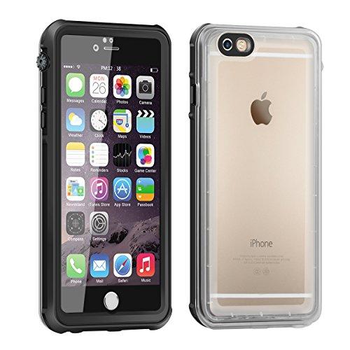 Eonfine-正規品 iPhone 6s / 6 用 防水ケース 4.7インチ フルプロテクションカバー 透明ケース クリア 薄 防水 防雪 防塵 耐衝撃 落下防止 IPx68 指紋認証対応 アイフォンケース ブラック