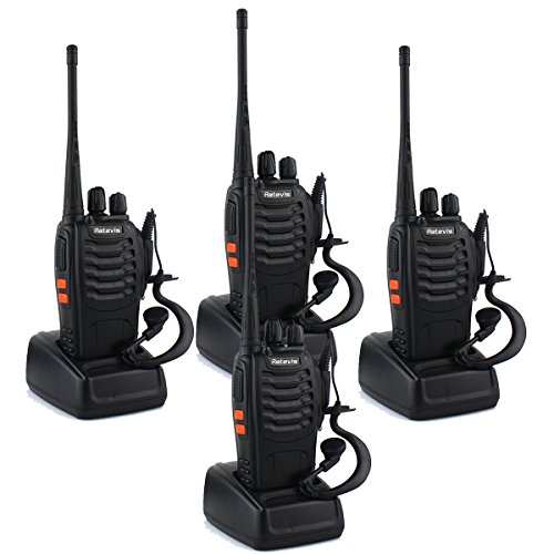 Retevis H-777 Walkie Talkie UHF 400-470MHz 3W 16CH Single Band Flashlight 2 Way Radio Transceiver with Original Earpiece, Battery, Antenna, Charger,and More (4 Pack)