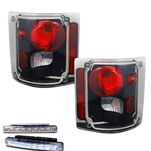 1973-1988 CHEVY C/K SERIES TRUCK REAR BRAKE TAIL LIGHT BLACK+LED BUMPER RUNNING (C10 Chevy Truck Parts 1973 1988 compare prices)