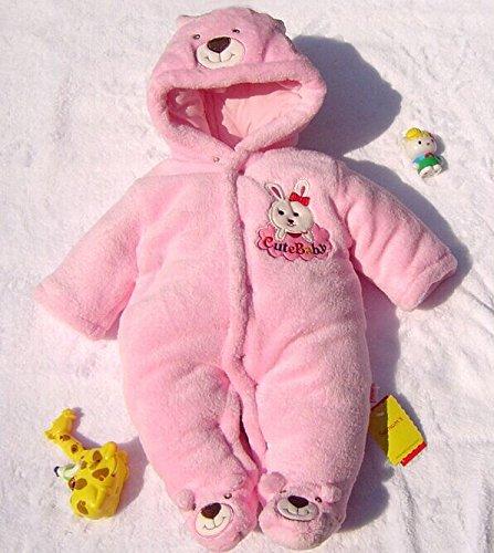 Newborn Baby Clothes Girls Boys Romper Winter Jumpsuit Thicken Cotton 0-3M Pink