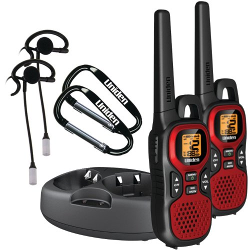 Uniden Rechargeable 22 Channel FRS/GMRS 30 Mile Portable Two-Way Radios with NOAA Weather Alerts, and VOX HandsFree Operation, Charging Kit and Drop-In Charging Cradle, Bonus FREE Headsets, and Carabiner Hooks with Belt Clips, Red Finish
