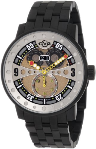 GV2 by Gevril Men's 4041B Powerball Black Steel Bracelet Sub-Second Big Date Watch