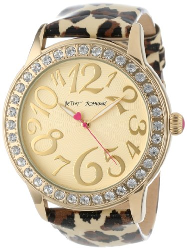Betsey Johnson Women's BJ00217-01 Analog Leopard Printed Strap Watch