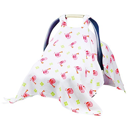 Baby Car Seat Covers To Protect From Bugs & Dust. XL Soft Muslin Cotton Canopy For Nursing. (Baseball Car Seat Cover compare prices)
