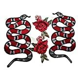 1pair Snake +1pair Flower pattern DIY dress patch applique embroidered clothes (Color: Snakes and flowers)