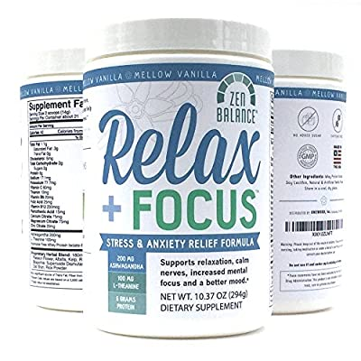 Relax + Focus Stress & Anxiety Relief Powder for Natural Calm & Mental Focus, Relaxation Supplement of Herbs, Vitamins, Protein Powder, Ashwagandha, L-Theanine, by Zen Balance
