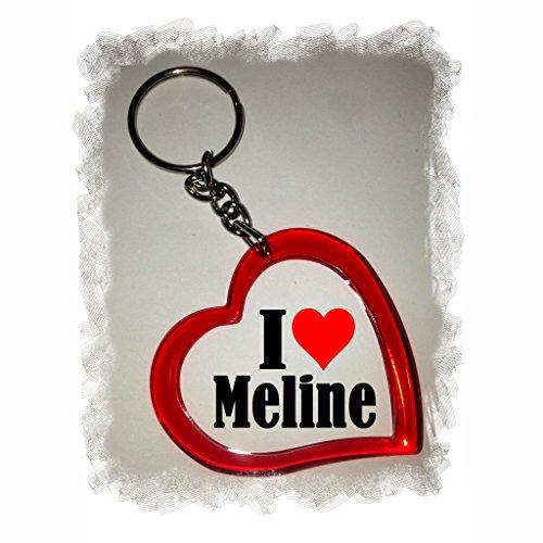 """ESCLUSIVO: Cuore Portachiavi/ Keychain """"I Love Meline"""" , una grande idea regalo per il vostro partner, la famiglia e molti altri - regalo di Pasqua, Partner di Pasqua rimorchio, ciondoli zaino, sacchetto incanta, incanta amore, ti amo, amici, amanti, accessorio, made in Germany."""