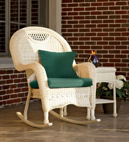 Prospect Hill Weather-Resistant Outdoor Resin Wicker Coffee Table With Powder-Coated Aluminum Frame, In Antique White