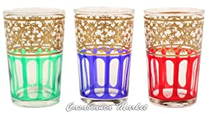 Moroccan Tea Glasses, Moorish Design (Set of 6)