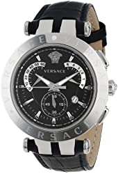 """Versace Men's 23C99D008 S009 """"V-Race"""" Stainless Steel Watch with Leather Band"""