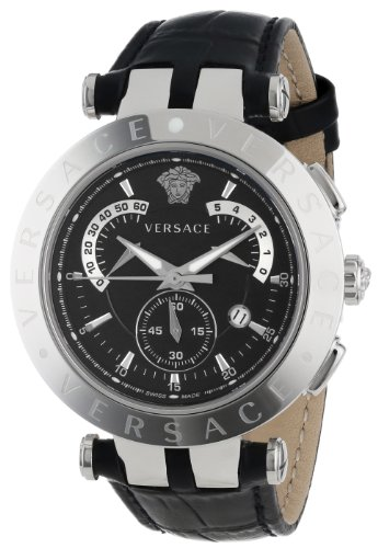 Versace Men's 23C99D008 S009 V-Race Chrono Black Dial Black Genuine Leather Watch