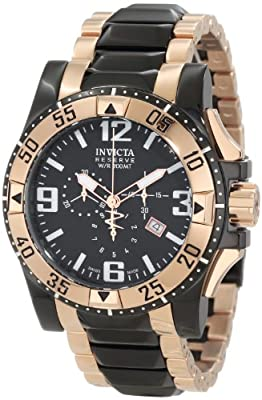 Invicta Men's 0203 Excursion Reserve Chronograph Black Dial Two Tone Stainless Steel Watch