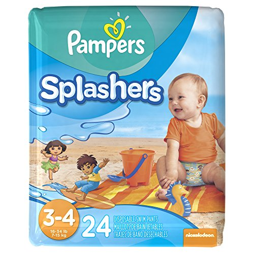 This is a Pampers Splashers Swim Diaper Disposable Swimming Pant Size 3 - 4 24 Count Package. The Swim Diapers are new in the package and are for babies 16 to 34 pounds. We have taken close up photos of the information on the package to help answer questions.