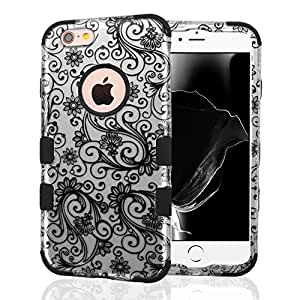 iPhone 6 Case, iPhone 6S Case, JoJoGoldStar Dual Layer Hybrid, Slim Fit Heavy Duty Plastic and Silicone TPU Hard Cover with Stylus and Screen Protector - Silver Lace Swirls