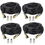 Masione 4 PACK 100ft security camera bnc video power cable extension wire cord for cctv dvr surveillance system