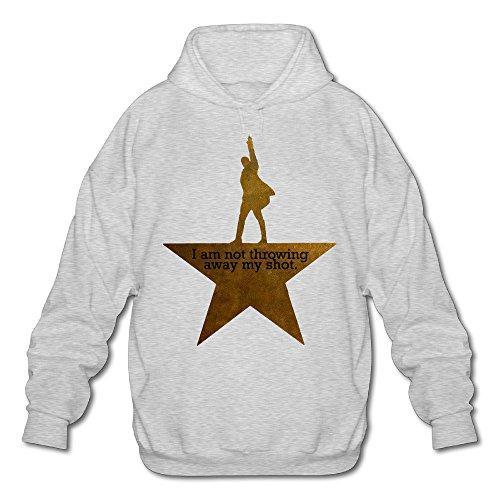 PHOEB Mens Sportswear Drawstring Hooded Sweatshirt,I Am Not Throwing Away My Shot Ash X-Large