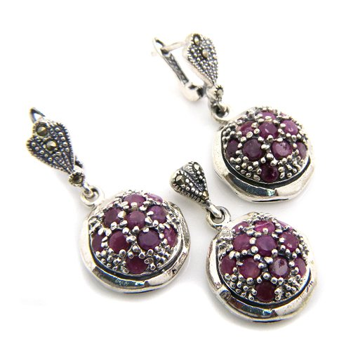19+g Natural Red Ruby Gemstone Marcasite Genuine 925 Silver Earring Pendant Set